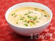 Телешка супа с картофи, моркови и фиде, застроена с яйце и кисело мляко
